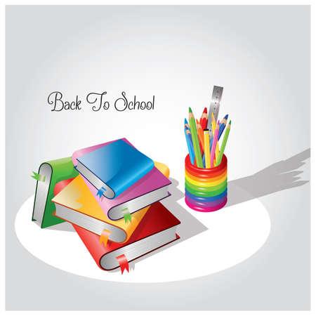 책과 연필의 스택 일러스트