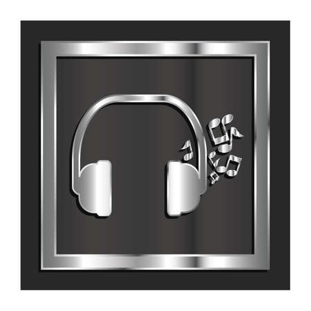 headphones with musical notes Çizim