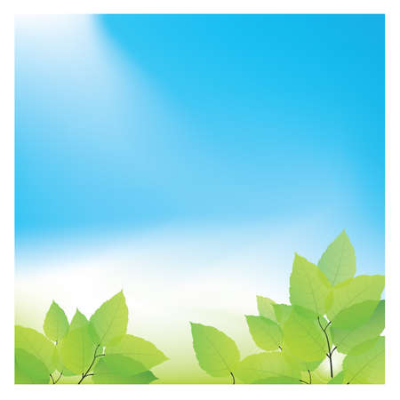 A green leaves against blue sky illustration.