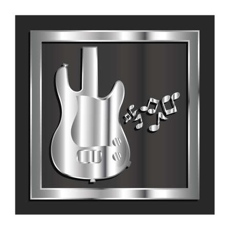 guitar with musical notes Illustration