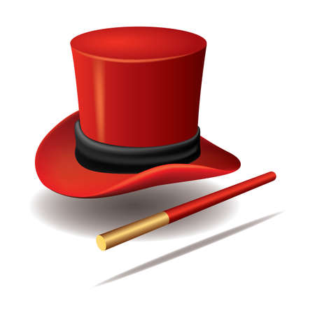 magician hat with wand Vettoriali