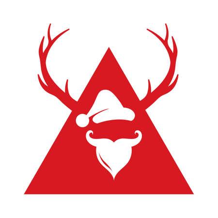 サンタ クロースの帽子とひげ  イラスト・ベクター素材