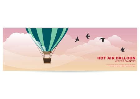 hot air balloon banner Stock Vector - 81419294