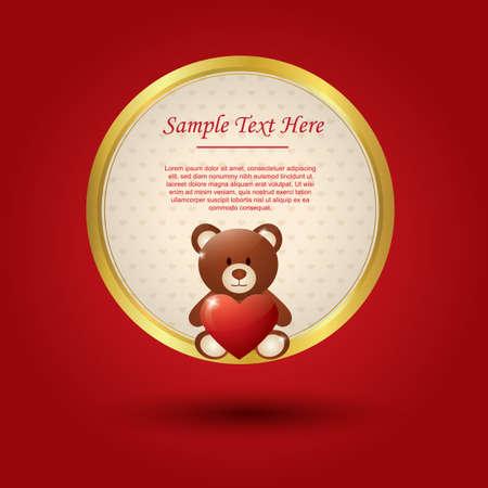 테디 베어와 함께 발렌타인 카드입니다.