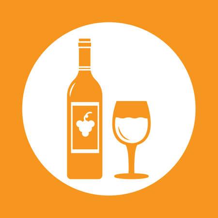 wine bottle with glass Ilustração