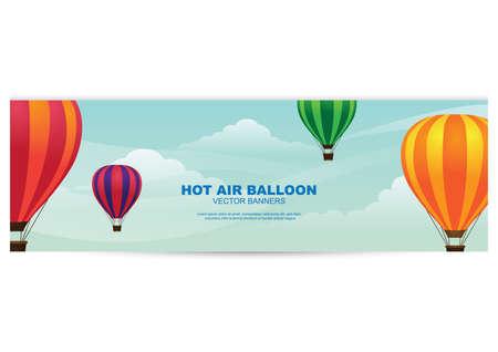 hot air balloon banner Vectores