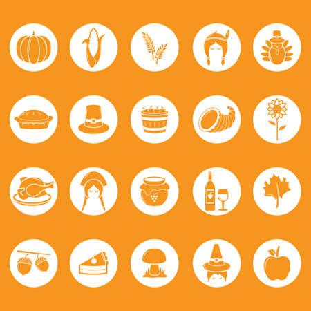 thanksgiving icons collection Standard-Bild - 106671442