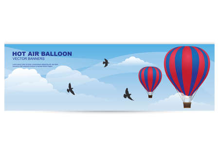 hot air balloon banner Stock Vector - 81419345