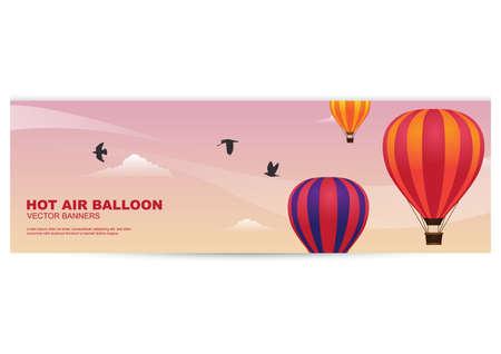 hot air balloon banner Stock Vector - 81419346