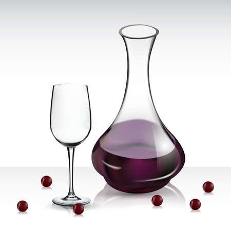 ワイングラスとワインのデキャンタ