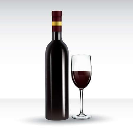 ワイングラスとワインのボトル  イラスト・ベクター素材