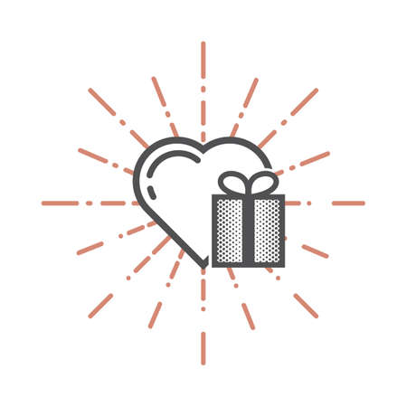 A heart and a gift illustration. Illustration