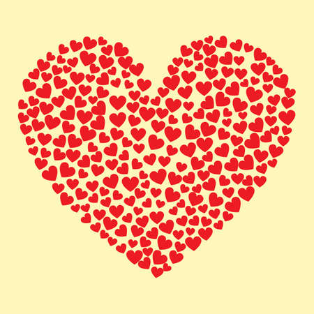 A hearts forming a heart illustration. 向量圖像
