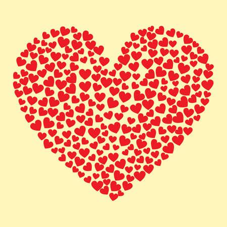 A hearts forming a heart illustration. Illustration