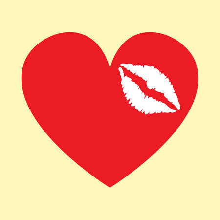 A lipstick stain on heart. 向量圖像