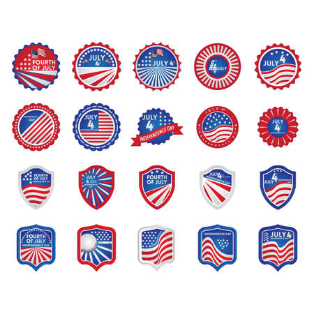Collection of american independence day icons Ilustração