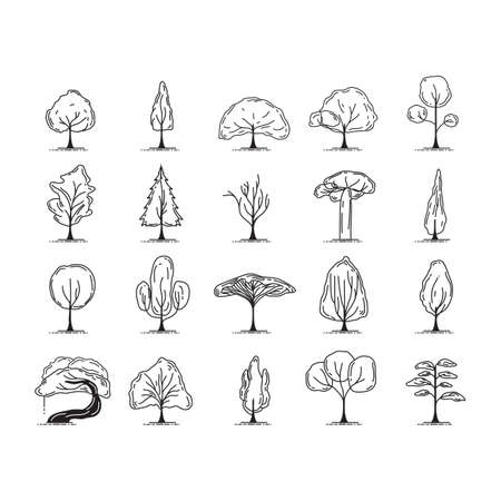 A set of trees illustration.