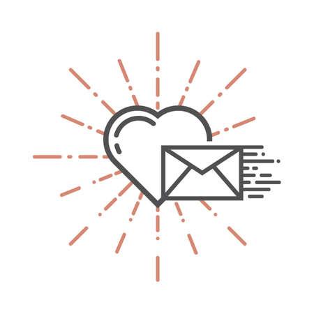 A heart and an envelope illustration. Illustration