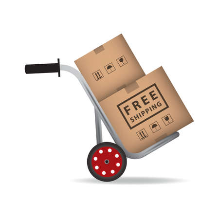 hand truck with cardboard boxes Stock Illustratie