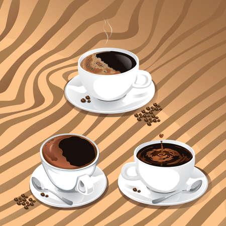 juego de tazas de cafe Ilustración de vector