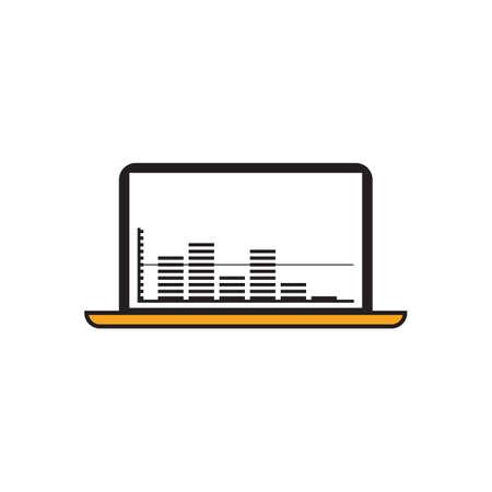 音楽とノート パソコン  イラスト・ベクター素材