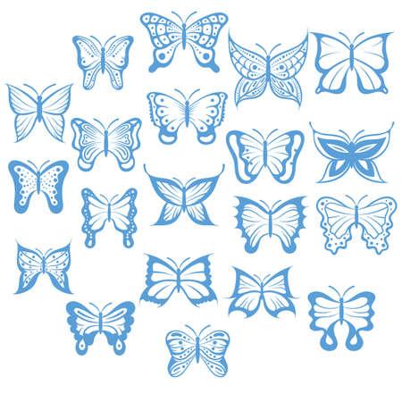 나비 세트 일러스트
