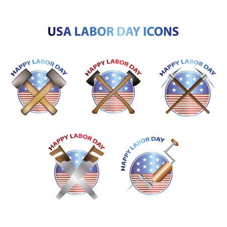 Verenigde Staten dag van de arbeid pictogrammen Stock Illustratie