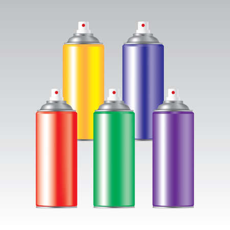rainbow color spray cans Illustration