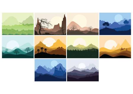 set of landscape icons  イラスト・ベクター素材