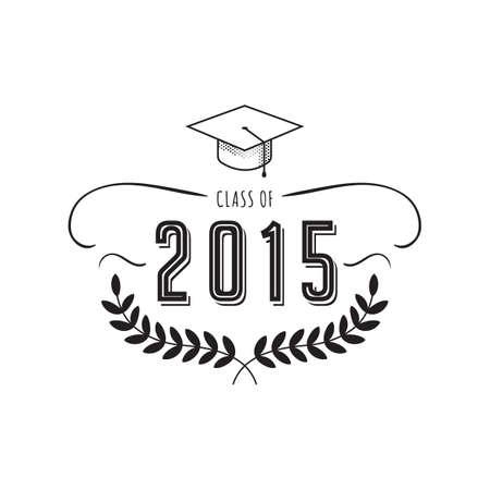 Una ilustración de la etiqueta de la graduación. Ilustración de vector