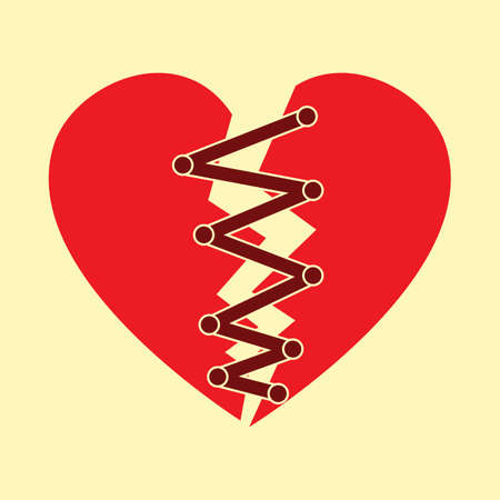 stitched: Stitched up broken heart. Illustration