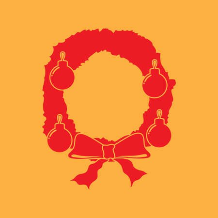A Christmas wreath illustration. Illustration