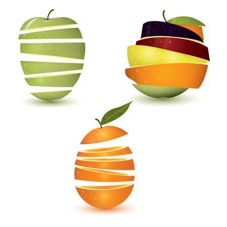 sliced fruit set Illusztráció