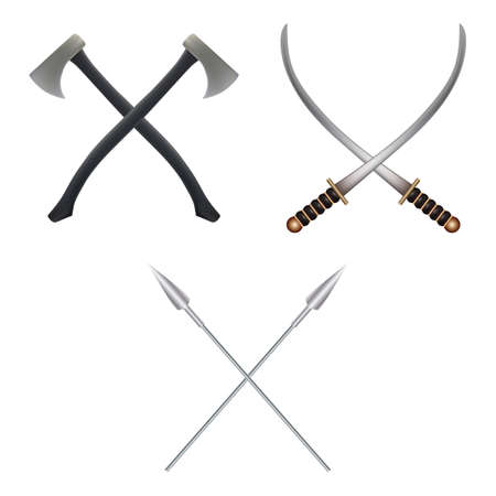 Set of crossed weapons