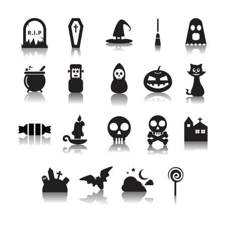 verzameling van halloween-iconen Stock Illustratie
