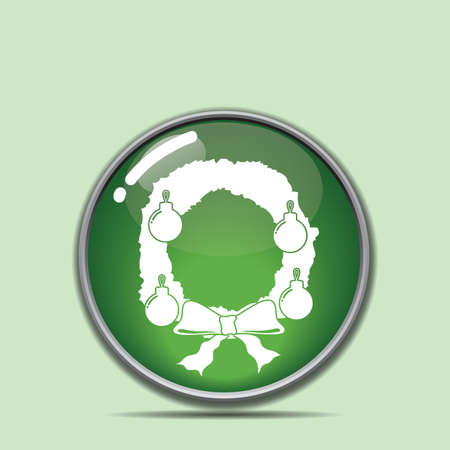 christmas wreath button Stock Vector - 81486720