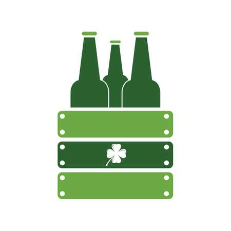 beer bottles in wooden box Stock Illustratie