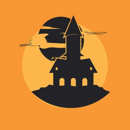 halloween haunted home Иллюстрация