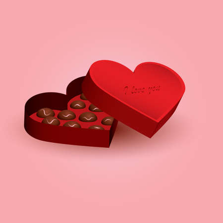 heart shaped chocolate box Ilustrace