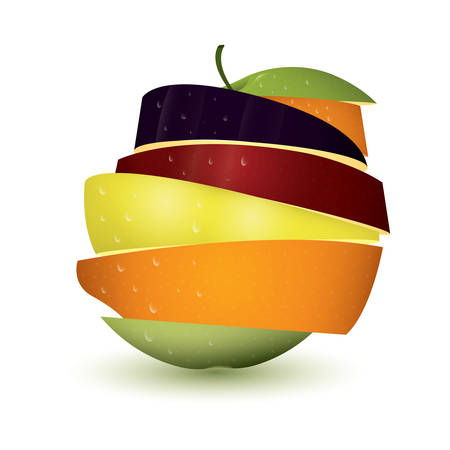 mixed fruit in slices Illustration