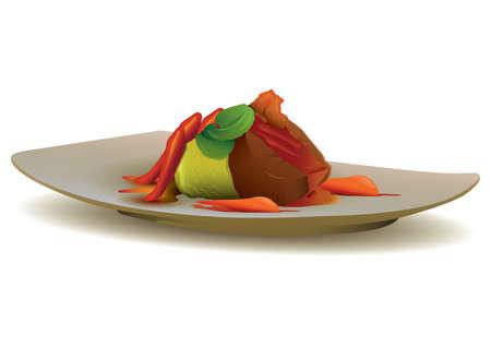 야채와 함께 쇠고기 스테이크 일러스트