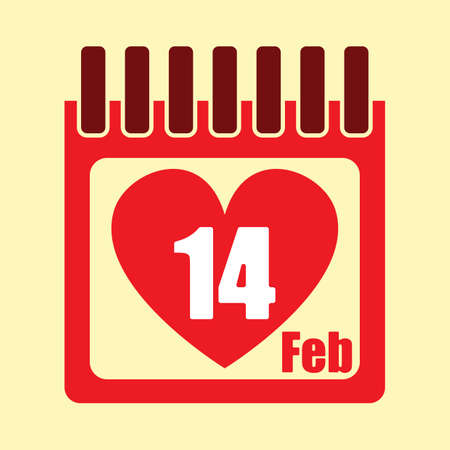 A calendar with valentines day date. Çizim