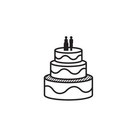 Eine Hochzeitstortenillustration. Standard-Bild - 81485939