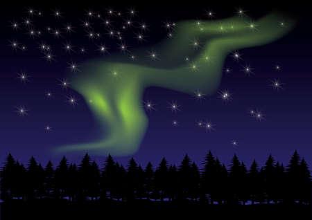 夜空にオーロラ  イラスト・ベクター素材