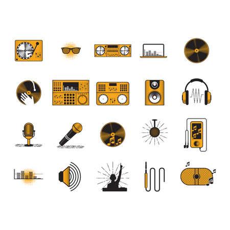 collectie van audioapparatuur Stock Illustratie