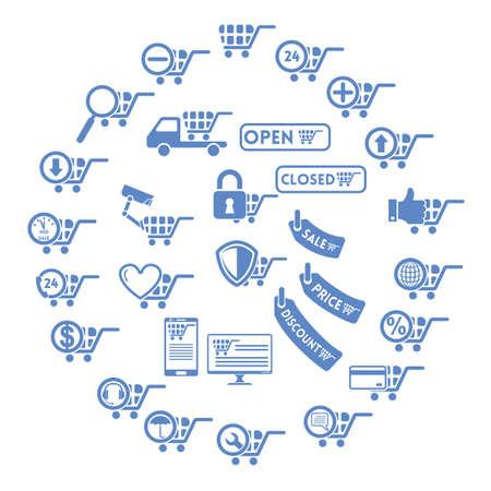 Set van winkelen pictogrammen Stock Illustratie
