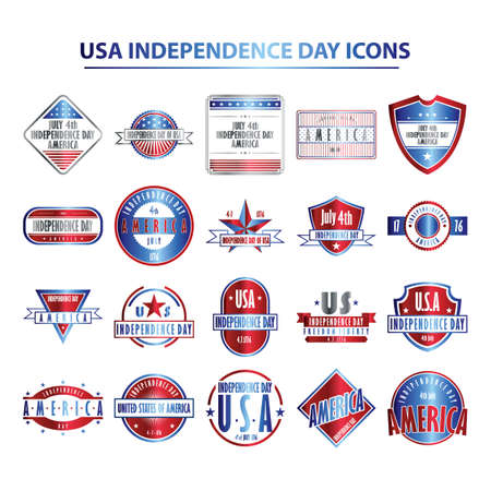 usa independence day icons 向量圖像