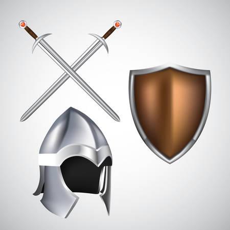 剣とヘルメットを盾します。