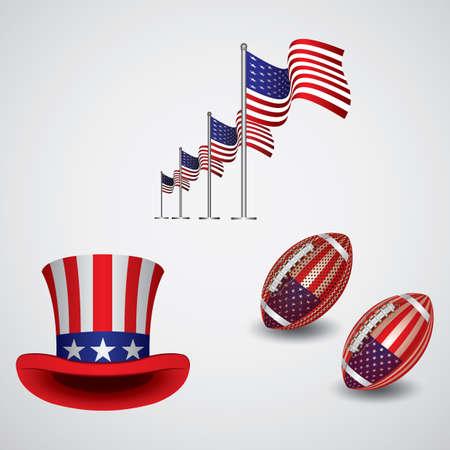 set of american icons Stock Illustratie