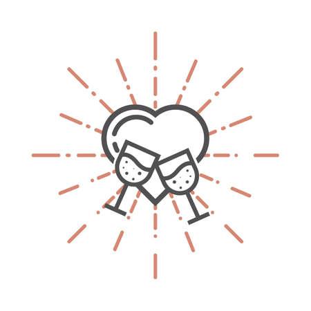 A heart and wine glasses illustration. Illustration